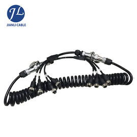 Truck Rear View Camera System Truck Trailer Coiled Cable , Waterproof 7 Pin Cable